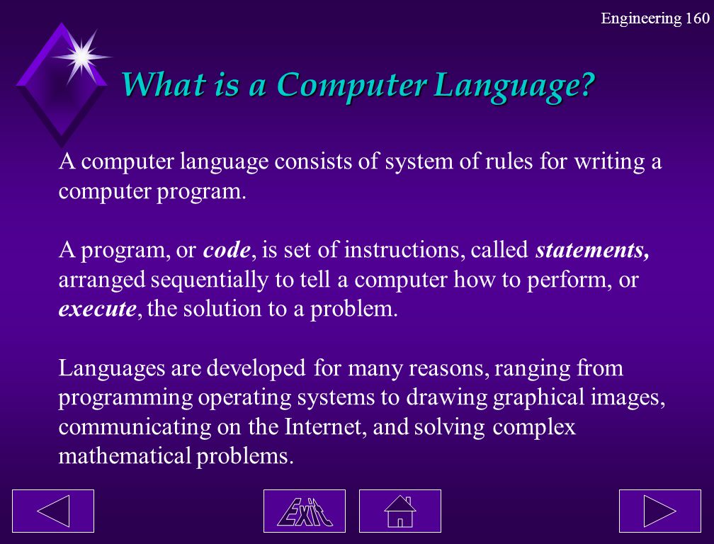 Engineering 160 What is a Computer Language? A computer language consists of system of rules for writing a computer program. A program, or code, is se