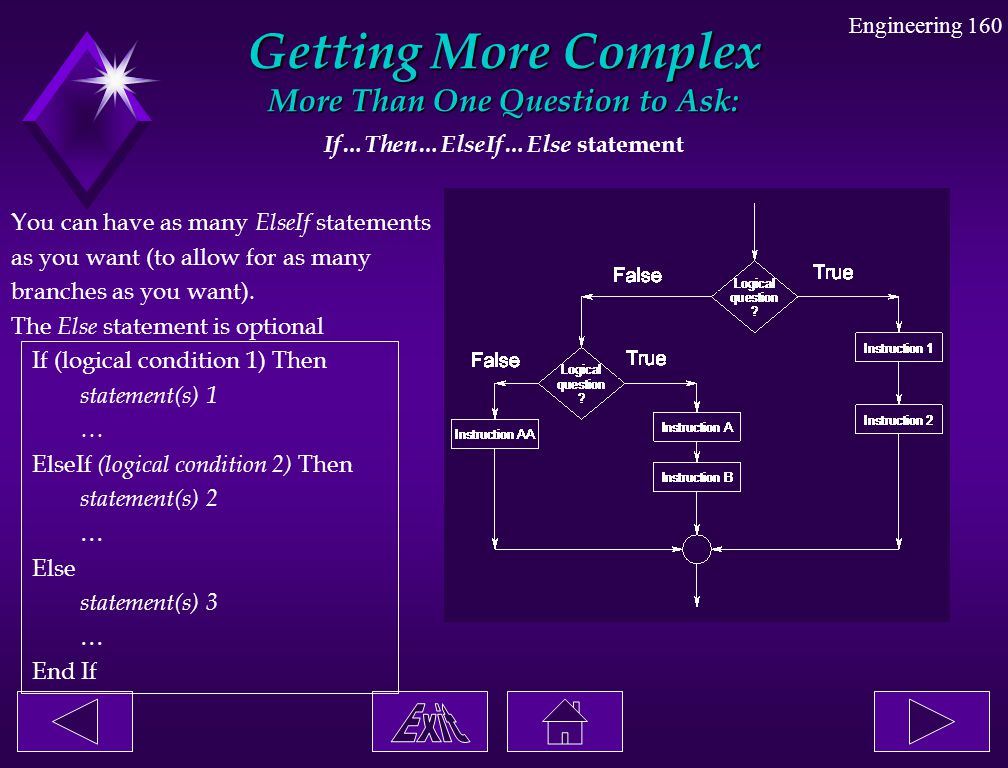 Engineering 160 Getting More Complex More Than One Question to Ask: If…Then…ElseIf…Else statement You can have as many ElseIf statements as you want (