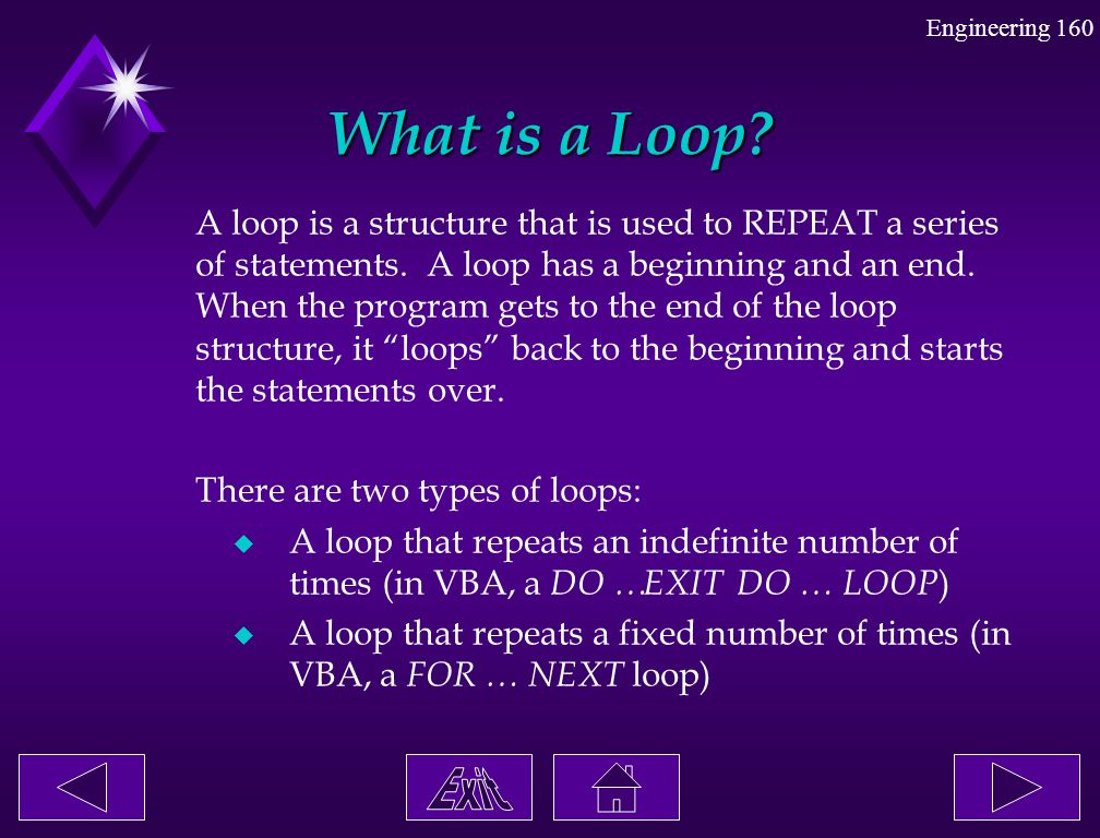 Engineering 160 What is a Loop? A loop is a structure that is used to REPEAT a series of statements. A loop has a beginning and an end. When the progr