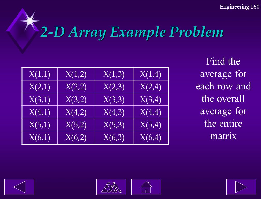 Engineering 160 2-D Array Example Problem 2-D Array Example Problem Find the average for each row and the overall average for the entire matrix X(1,1)