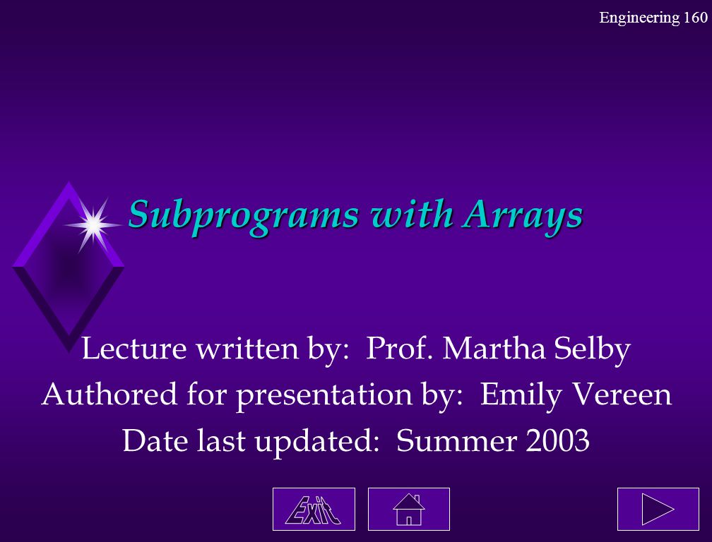 Engineering 160 Subprograms with Arrays Lecture written by: Prof. Martha Selby Authored for presentation by: Emily Vereen Date last updated: Summer 20