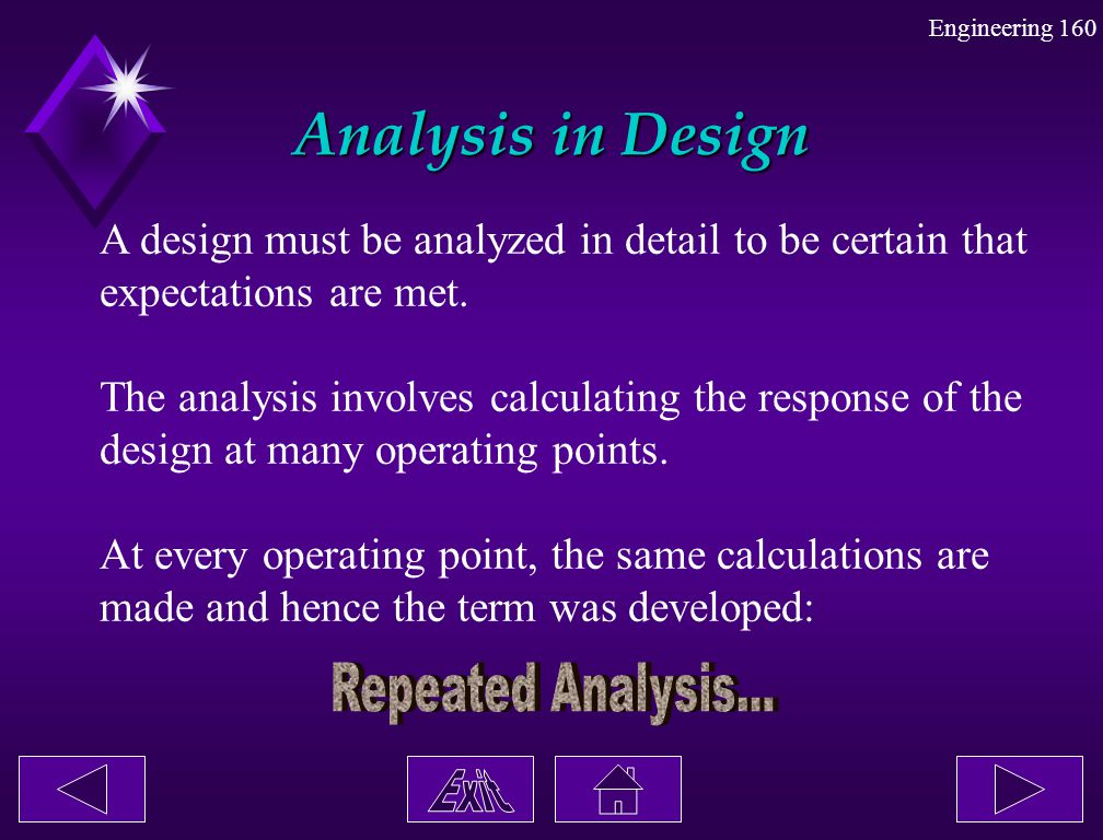 Engineering 160 Analysis in Design A design must be analyzed in detail to be certain that expectations are met. The analysis involves calculating the