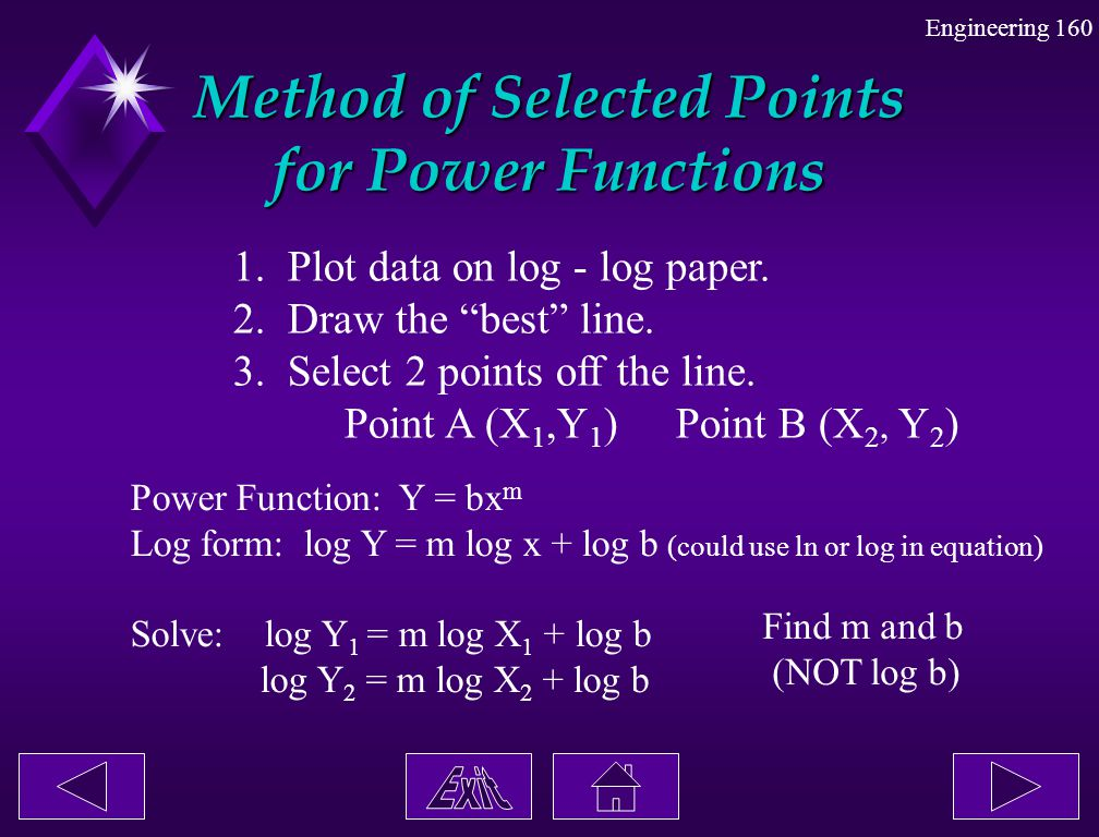"""Engineering 160 Method of Selected Points for Power Functions 1. Plot data on log - log paper. 2. Draw the """"best"""" line. 3. Select 2 points off the lin"""