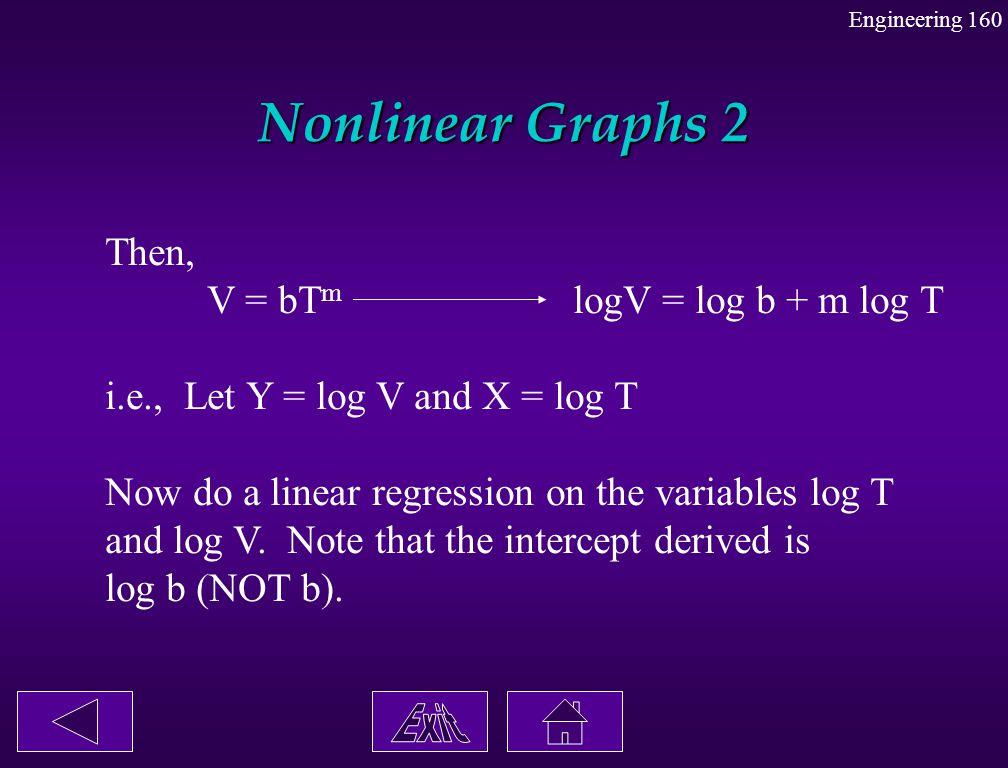 Nonlinear Graphs 2 Then, V = bT m logV = log b + m log T i.e., Let Y = log V and X = log T Now do a linear regression on the variables log T and log V
