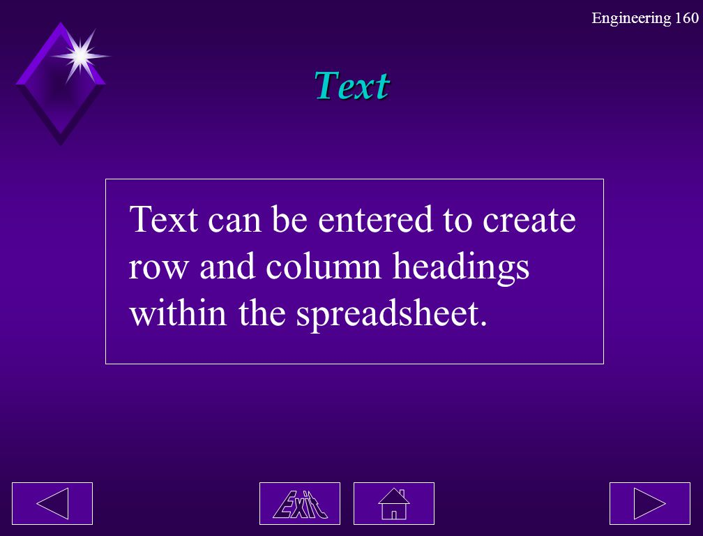 Engineering 160 Text Text can be entered to create row and column headings within the spreadsheet.
