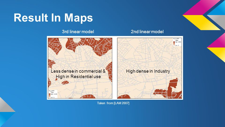 Result In Maps 3rd linear model 2nd linear model Less dense in commercial & High in Residential use High dense in Industry Taken from [LAM 2007]