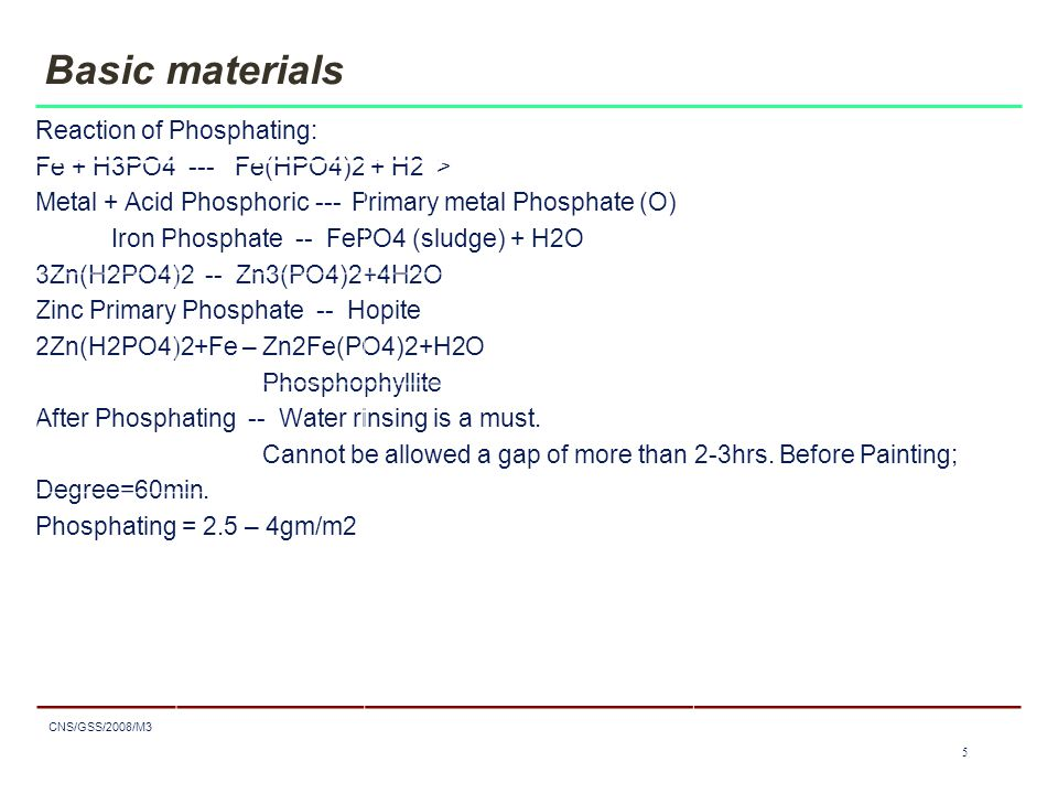 5 CNS/GSS/2008/M3 5 Basic materials Reaction of Phosphating: Fe + H3PO4 --- Fe(HPO4)2 + H2 > Metal + Acid Phosphoric --- Primary metal Phosphate (O) Iron Phosphate -- FePO4 (sludge) + H2O 3Zn(H2PO4)2 -- Zn3(PO4)2+4H2O Zinc Primary Phosphate -- Hopite 2Zn(H2PO4)2+Fe – Zn2Fe(PO4)2+H2O Phosphophyllite After Phosphating -- Water rinsing is a must.