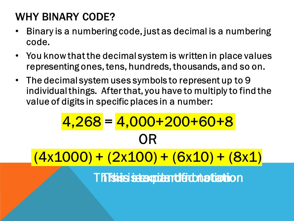 WHY BINARY CODE. Binary is a numbering code, just as decimal is a numbering code.