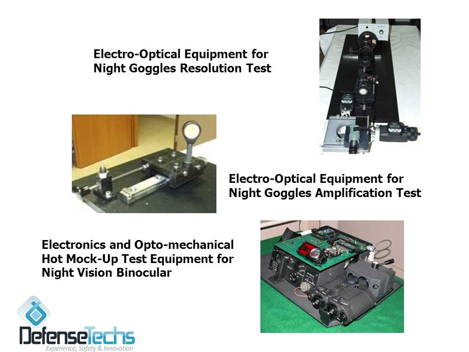 Electro-Optical Equipment for Night Goggles Resolution Test Electronics and Opto-mechanical Hot Mock-Up Test Equipment for Night Vision Binocular Electro-Optical Equipment for Night Goggles Amplification Test