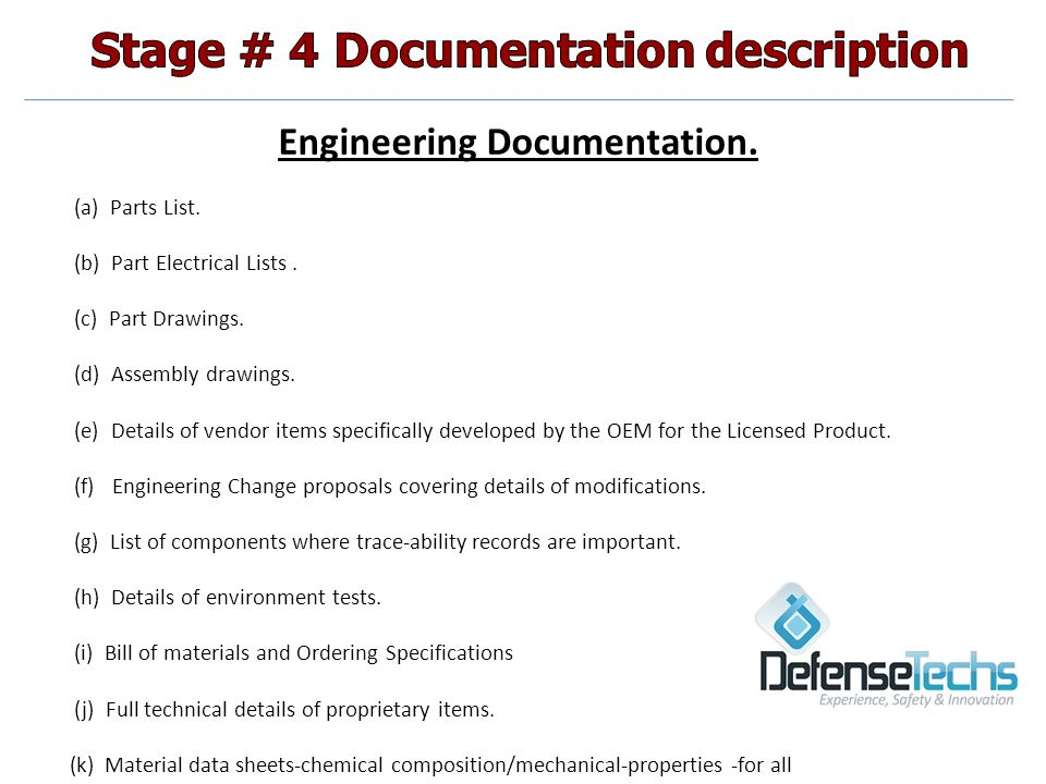 Engineering Documentation. (a) Parts List. (b) Part Electrical Lists.