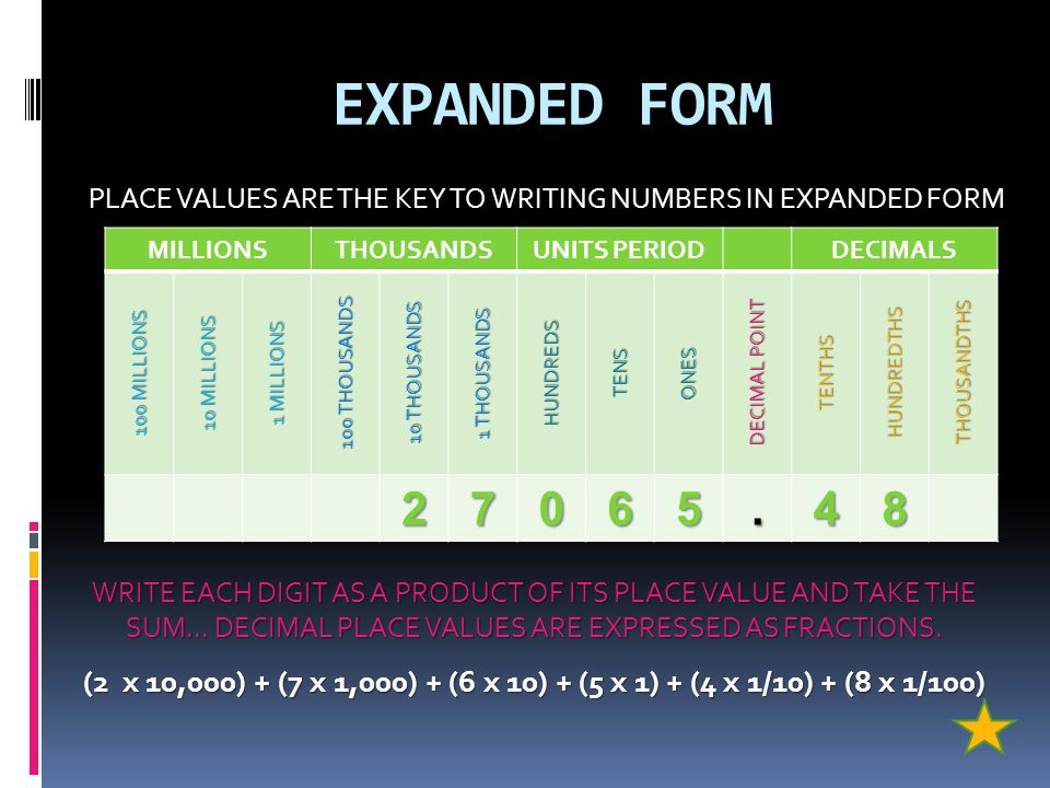 WRITTEN FORM  TO THE LEFT OF THE DECIMAL POINT, EVERY 3 NUMBERS ARE SEPARATED BY COMMAS; EACH GROUP OF 3 NUMBERS IS CALLED A PERIOD  WHEN WRITING NU
