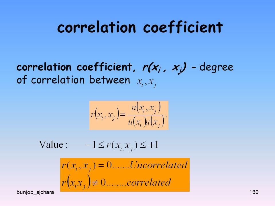 bunjob_ajchara130 correlation coefficient correlation coefficient, r(x i, x j ) - degree of correlation between