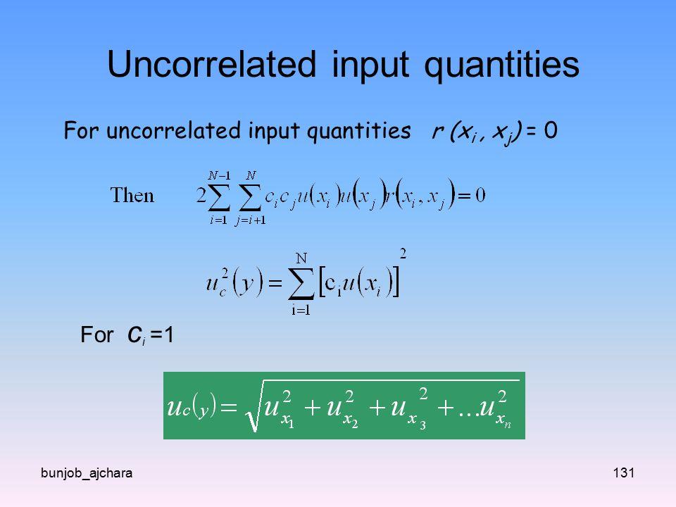 bunjob_ajchara131 Uncorrelated input quantities For uncorrelated input quantities r (x i, x j ) = 0 For c i =1