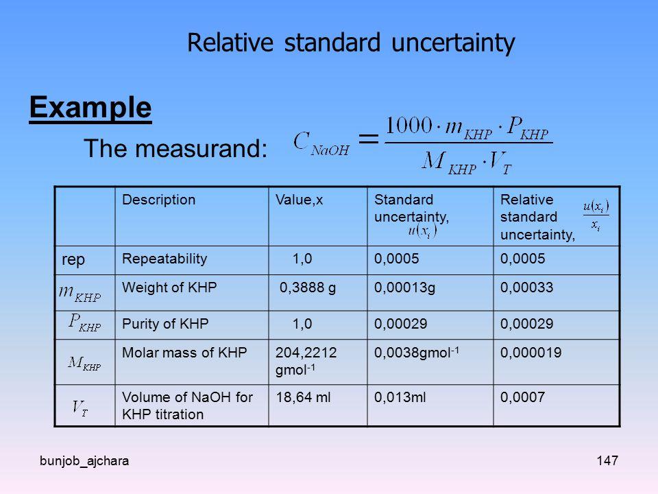 bunjob_ajchara147 Relative standard uncertainty Example The measurand: DescriptionValue,xStandard uncertainty, Relative standard uncertainty, rep Repeatability 1,00,0005 Weight of KHP 0,3888 g0,00013g0,00033 Purity of KHP 1,00,00029 Molar mass of KHP204,2212 gmol -1 0,0038gmol -1 0,000019 Volume of NaOH for KHP titration 18,64 ml0,013ml0,0007