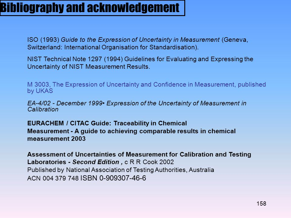 158 ISO (1993) Guide to the Expression of Uncertainty in Measurement (Geneva, Switzerland: International Organisation for Standardisation).