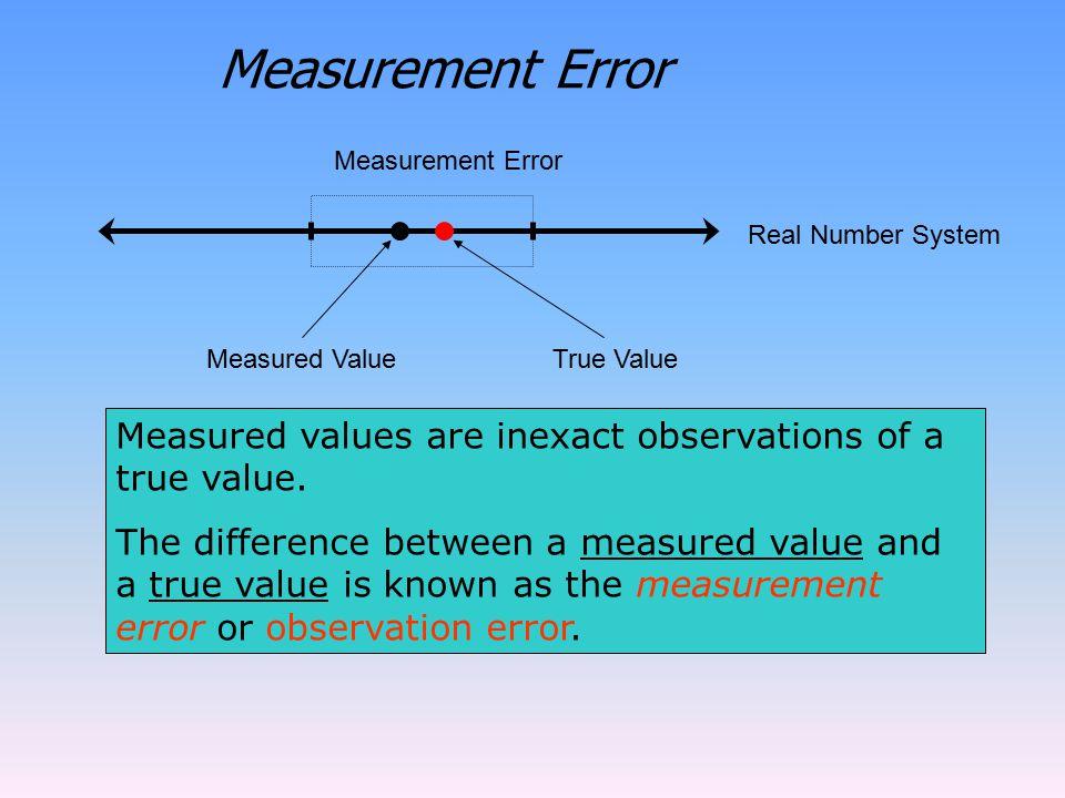 Measurement Error Measured ValueTrue Value Real Number System Measurement Error Measured values are inexact observations of a true value.