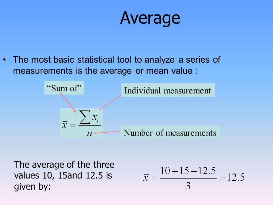 Average The most basic statistical tool to analyze a series of measurements is the average or mean value : Sum of Individual measurement Number of measurements The average of the three values 10, 15and 12.5 is given by: