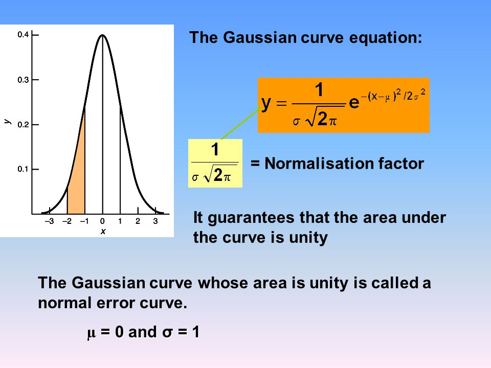 The Gaussian curve whose area is unity is called a normal error curve.