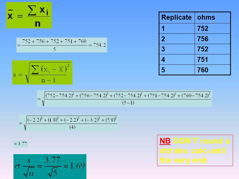 Replicateohms 1752 2756 3752 4751 5760 NB DON ' T round a std dev. calc until the very end.