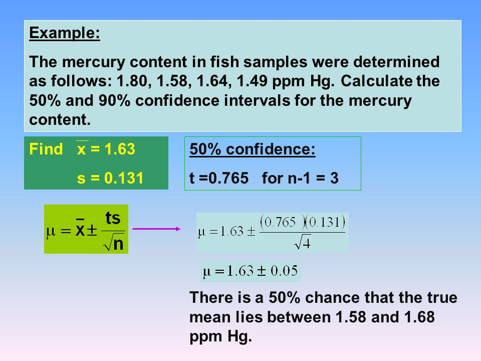 Example: The mercury content in fish samples were determined as follows: 1.80, 1.58, 1.64, 1.49 ppm Hg.