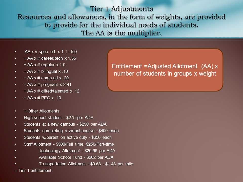 Tier 1 Adjustments Resources and allowances, in the form of weights, are provided to provide for the individual needs of students.