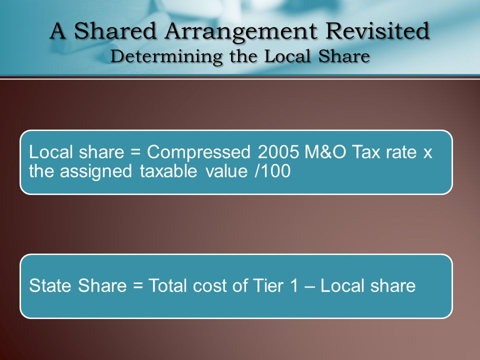A Shared Arrangement Revisited Determining the Local Share Local share = Compressed 2005 M&O Tax rate x the assigned taxable value /100 State Share = Total cost of Tier 1 – Local share