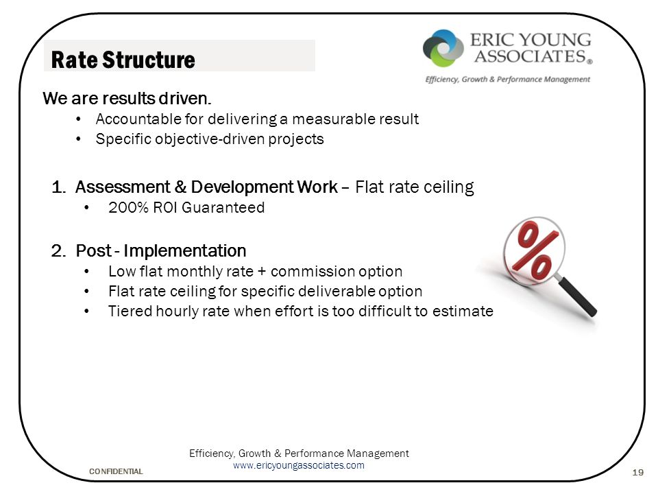 CONFIDENTIAL Efficiency, Growth & Performance Management www.ericyoungassociates.com 19 Rate Structure 1.Assessment & Development Work – Flat rate ceiling 200% ROI Guaranteed 2.Post - Implementation Low flat monthly rate + commission option Flat rate ceiling for specific deliverable option Tiered hourly rate when effort is too difficult to estimate We are results driven.
