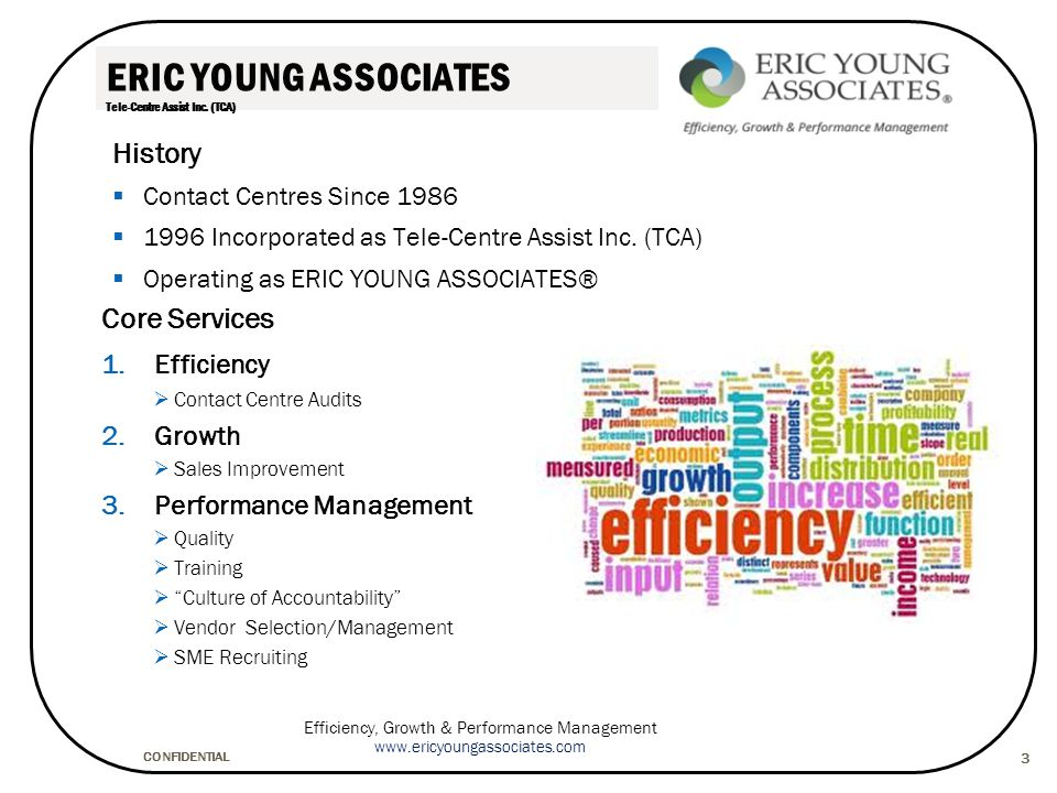 CONFIDENTIAL Efficiency, Growth & Performance Management www.ericyoungassociates.com 14 Data Analysis/Interpretation 3 3 1.Documentation 2.Identify & capture possible opportunities 3.Process mapping (macro) 4.Financial analysis 5.Cost per contact, per call minute, per task 6.Efficiency analysis 7.Service metrics analysis 8.Telephony analysis 9.Systems analysis 10.Capacity – each of the areas above 1.Documentation 2.Identify & capture possible opportunities 3.Process mapping (macro) 4.Financial analysis 5.Cost per contact, per call minute, per task 6.Efficiency analysis 7.Service metrics analysis 8.Telephony analysis 9.Systems analysis 10.Capacity – each of the areas above Project Activities 1.Working list of potential opportunities 2.Documented As Is process mapping 3.Documented preliminary To Be process 4.Detailed analysis summaries documented 1.Working list of potential opportunities 2.Documented As Is process mapping 3.Documented preliminary To Be process 4.Detailed analysis summaries documented Project Deliverables Method Continued