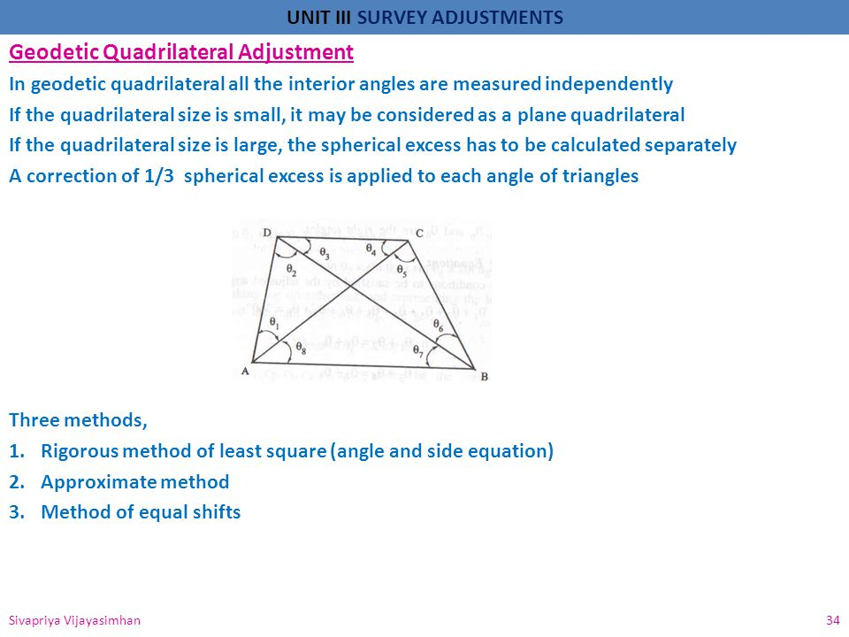 UNIT III SURVEY ADJUSTMENTS Geodetic Quadrilateral Adjustment In geodetic quadrilateral all the interior angles are measured independently If the quad