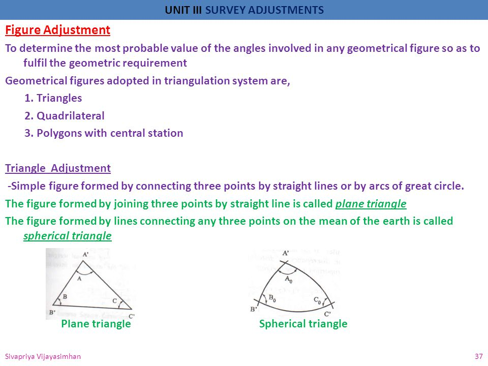 UNIT III SURVEY ADJUSTMENTS Figure Adjustment To determine the most probable value of the angles involved in any geometrical figure so as to fulfil th