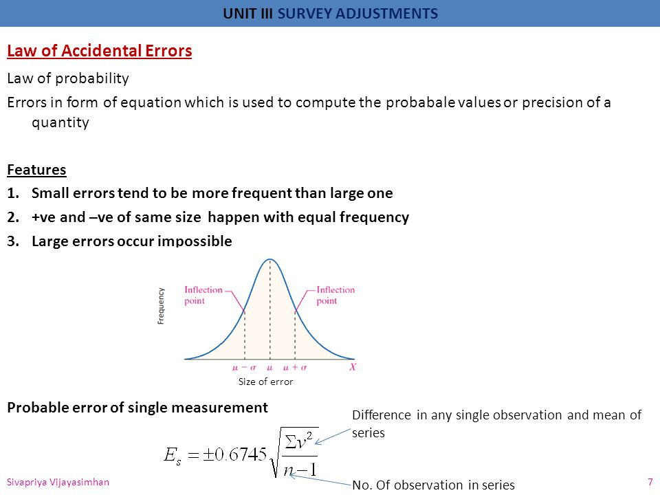 UNIT III SURVEY ADJUSTMENTS Law of Accidental Errors Law of probability Errors in form of equation which is used to compute the probabale values or pr