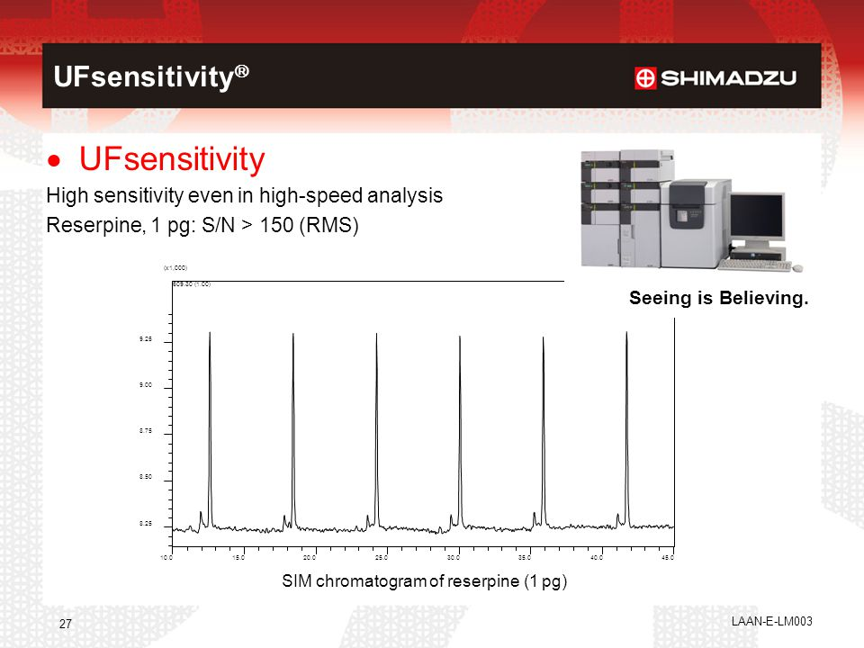 LAAN-E-LM003 27  UFsensitivity High sensitivity even in high-speed analysis Reserpine, 1 pg: S/N > 150 (RMS) SIM chromatogram of reserpine (1 pg) 10.