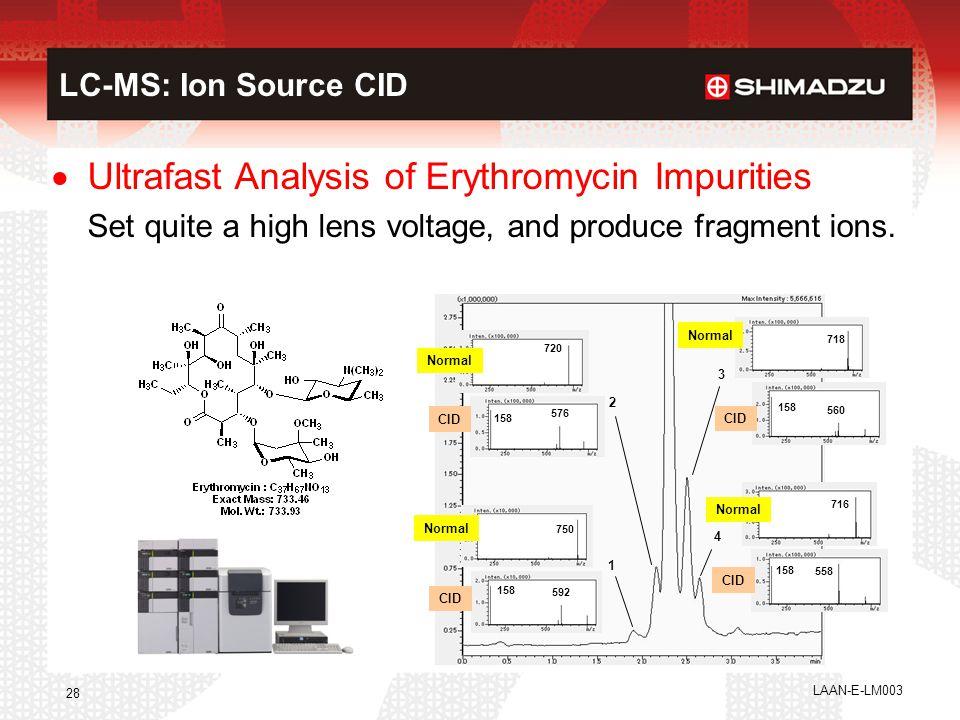 LAAN-E-LM003 28 LC-MS: Ion Source CID 3 4 1 2 Normal CID Normal CID Normal CID 720 576 158 750 158 592 560 158 718 558 158 716  Ultrafast Analysis of