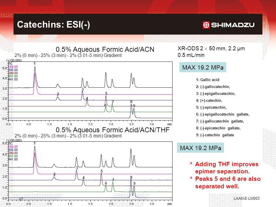 LAAN-E-LM003 47 Catechins: ESI(-) 0.5% Aqueous Formic Acid/ACN 2% (0 min) - 25% (3 min) - 2% (3.01-5 min) Gradient XR-ODS 2  50 mm, 2.2 µm 0.5 mL/min