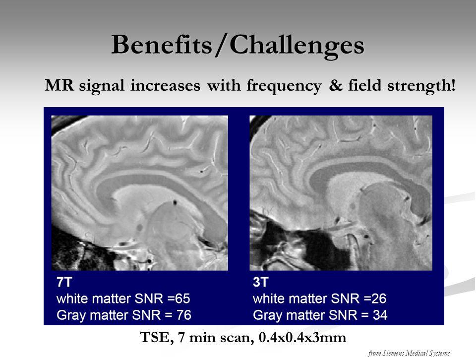 SNR versus Field Strength 7T: SNR ~ linear with B 0, but BOLD  B 0 2 (  R2'  B 0 )
