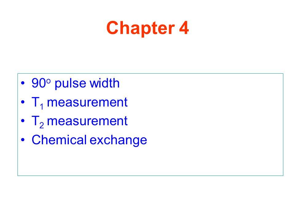90 o pulse width T 1 measurement T 2 measurement Chemical exchange