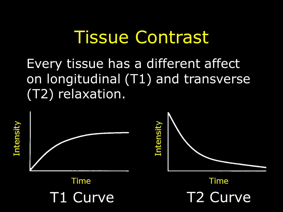 T1 Curve T2 Curve Intensity Time Tissue Contrast Every tissue has a different affect on longitudinal (T1) and transverse (T2) relaxation.