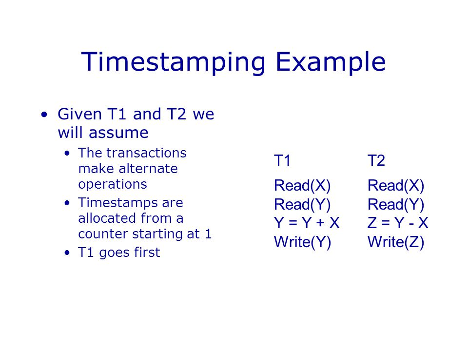 Timestamping Example Given T1 and T2 we will assume The transactions make alternate operations Timestamps are allocated from a counter starting at 1 T