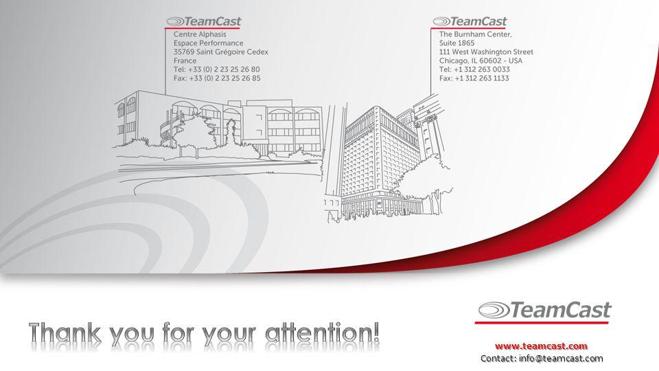 Contact: info@teamcast.com www.teamcast.com