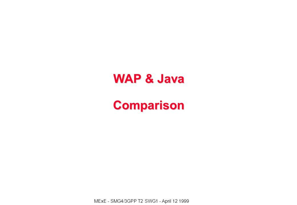 MExE - SMG4/3GPP T2 SWG1 - April 12 1999 WAP & Java Comparison