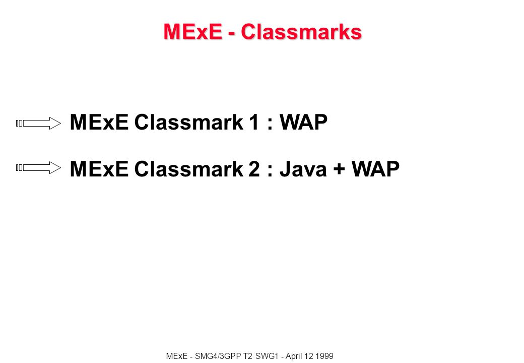 MExE - SMG4/3GPP T2 SWG1 - April 12 1999 MExE - Classmarks MExE Classmark 1 : WAP MExE Classmark 2 : Java + WAP