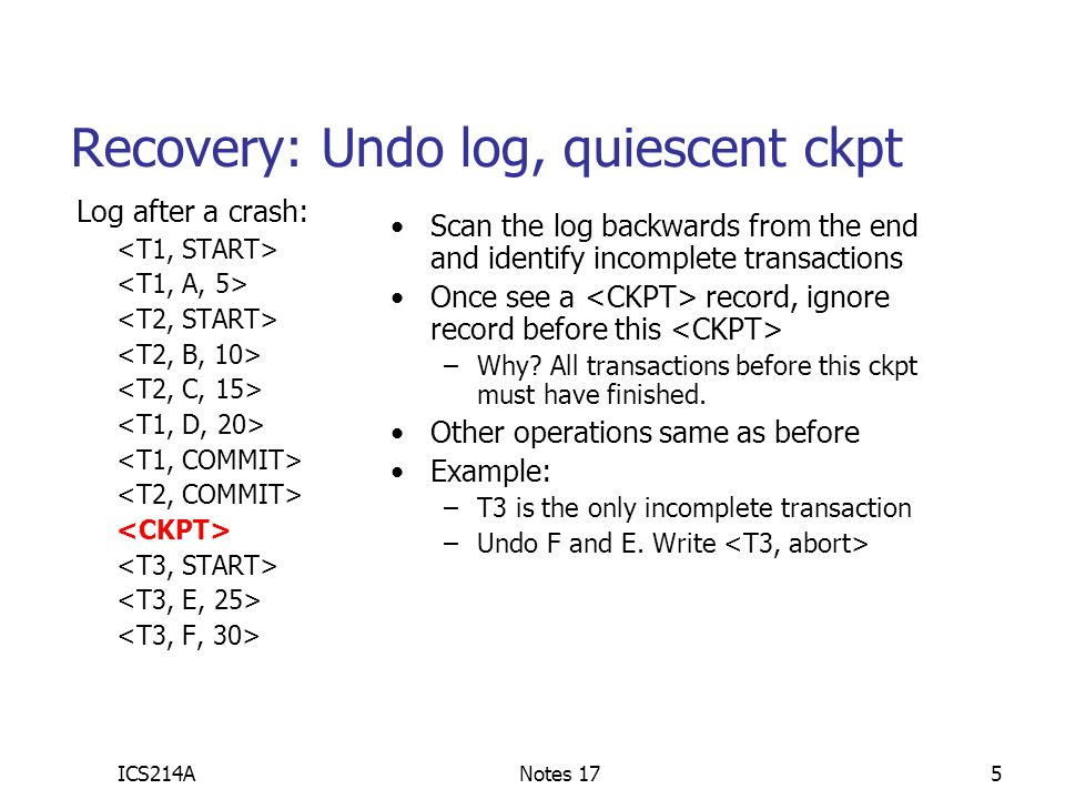 ICS214ANotes 176 Nonquiescent checkpoint (undo) We don't want the system to halt to do a checkpoint How to accept xacts during a checkpoint.