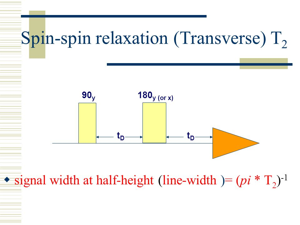 Spin-spin relaxation (Transverse) T 2  signal width at half-height (line-width )= (pi * T 2 ) -1 180 y (or x) 90 y tDtD tDtD