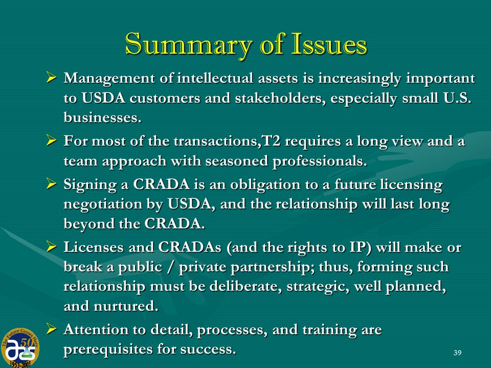 39 Summary of Issues  Management of intellectual assets is increasingly important to USDA customers and stakeholders, especially small U.S.