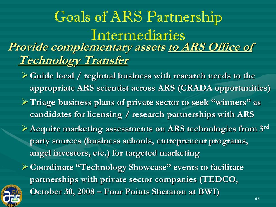 62 Goals of ARS Partnership Intermediaries Provide complementary assets to ARS Office of Technology Transfer  Guide local / regional business with research needs to the appropriate ARS scientist across ARS (CRADA opportunities)  Triage business plans of private sector to seek winners as candidates for licensing / research partnerships with ARS  Acquire marketing assessments on ARS technologies from 3 rd party sources (business schools, entrepreneur programs, angel investors, etc.) for targeted marketing  Coordinate Technology Showcase events to facilitate partnerships with private sector companies (TEDCO, October 30, 2008 – Four Points Sheraton at BWI)