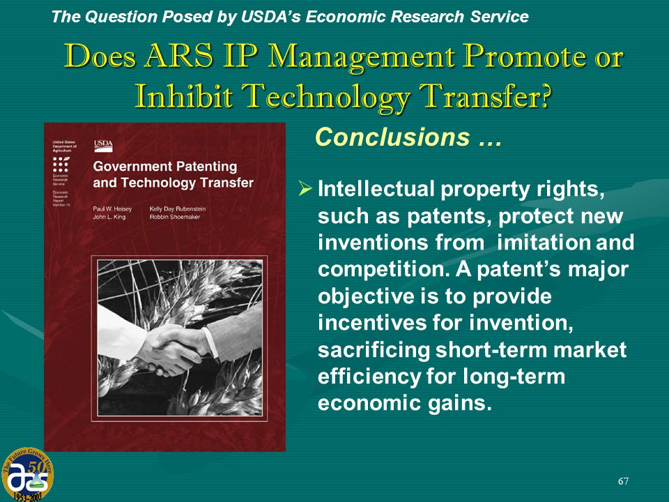 67 Does ARS IP Management Promote or Inhibit Technology Transfer.