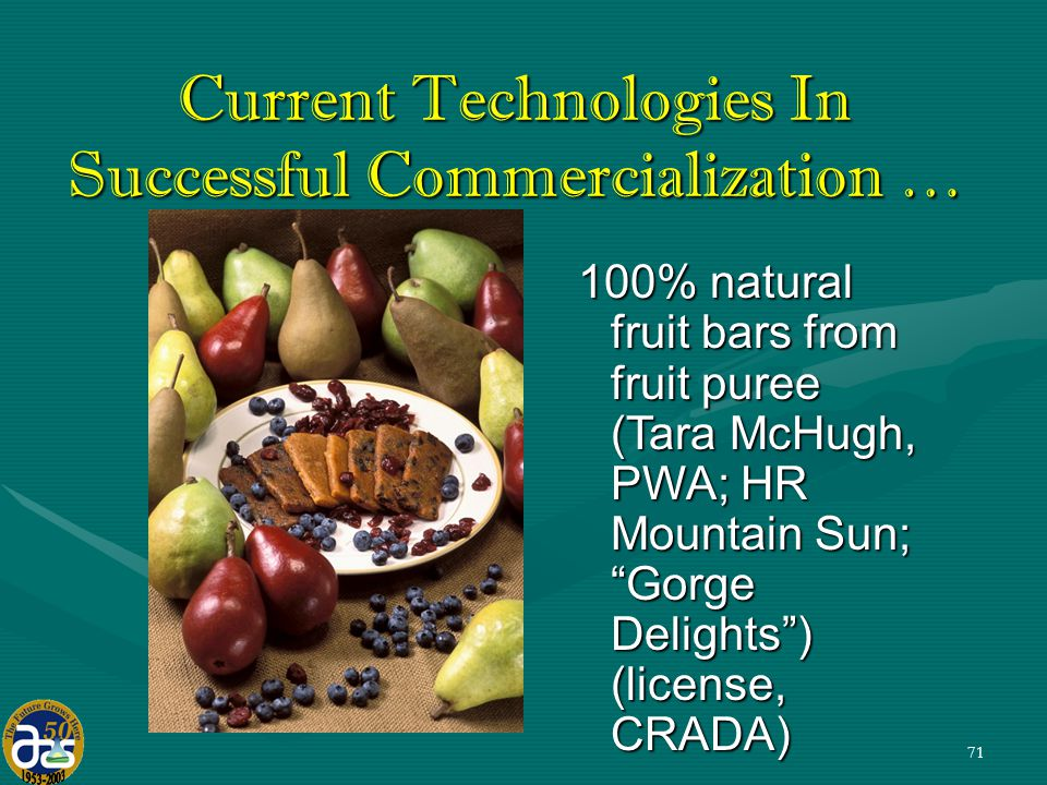 71 100% natural fruit bars from fruit puree (Tara McHugh, PWA; HR Mountain Sun; Gorge Delights ) (license, CRADA) Current Technologies In Successful Commercialization …