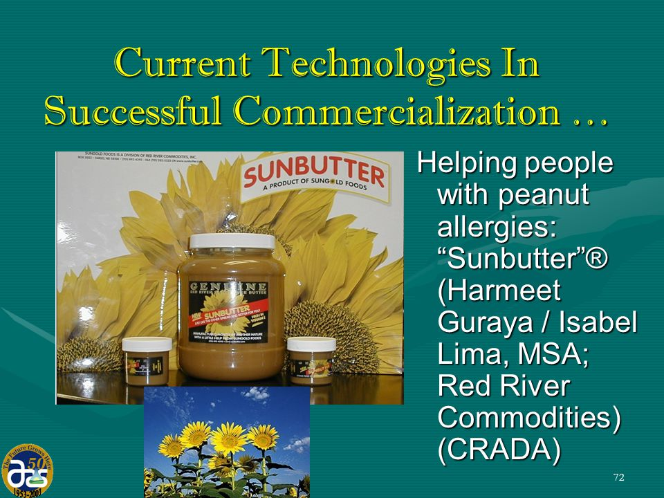 72 Helping people with peanut allergies: Sunbutter ® (Harmeet Guraya / Isabel Lima, MSA; Red River Commodities) (CRADA) Current Technologies In Successful Commercialization …