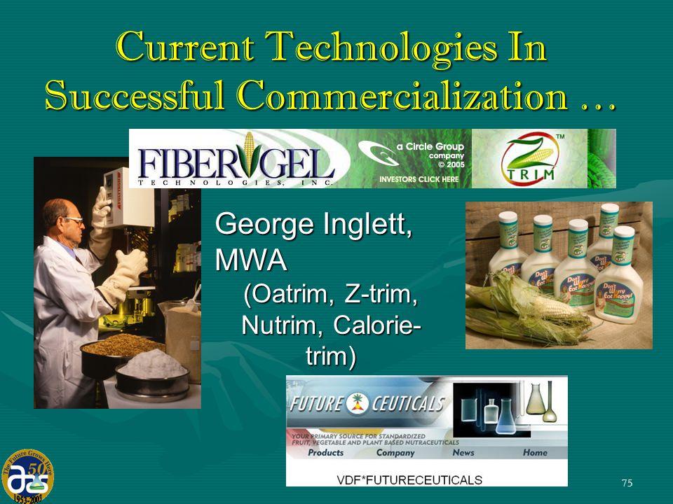 75 George Inglett, MWA (Oatrim, Z-trim, Nutrim, Calorie- trim) Current Technologies In Successful Commercialization …