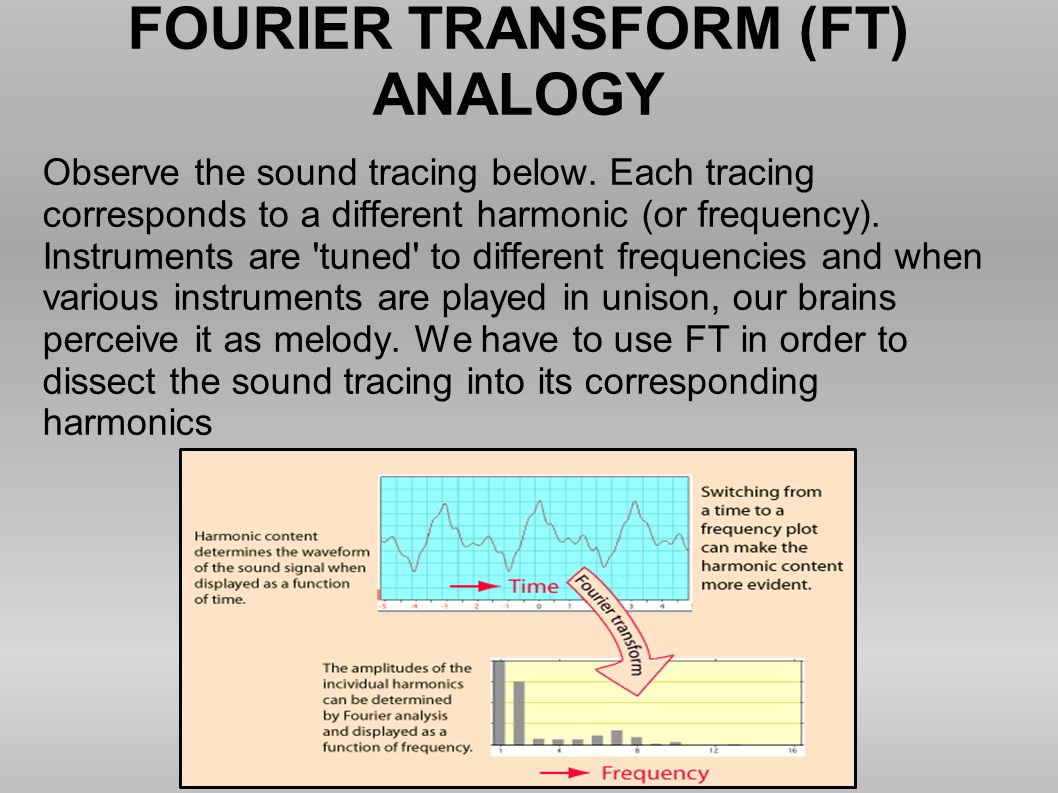 FOURIER TRANSFORM (FT) ANALOGY Observe the sound tracing below. Each tracing corresponds to a different harmonic (or frequency). Instruments are 'tune